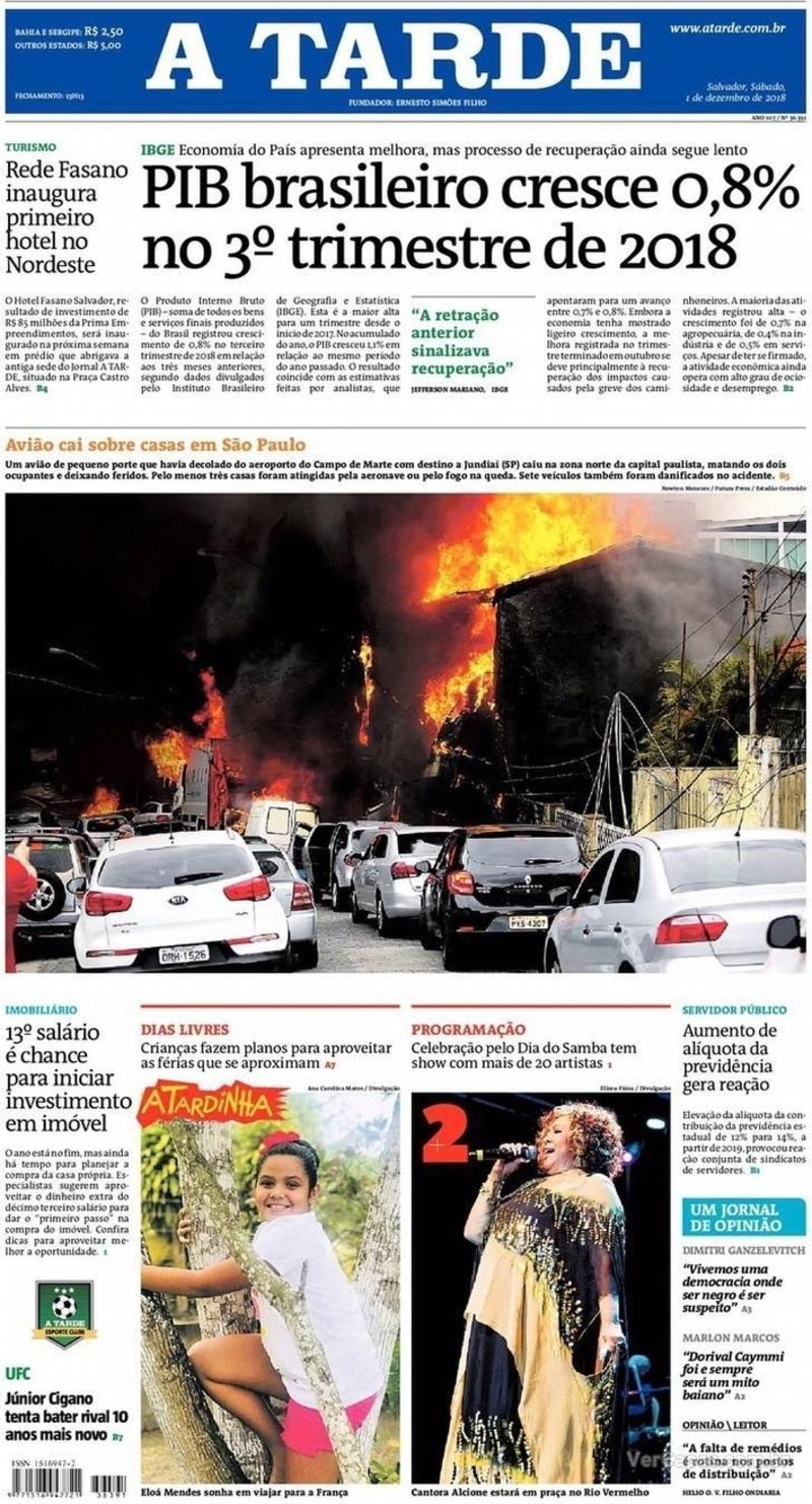 Capa jornal A Tarde 01/12/2018
