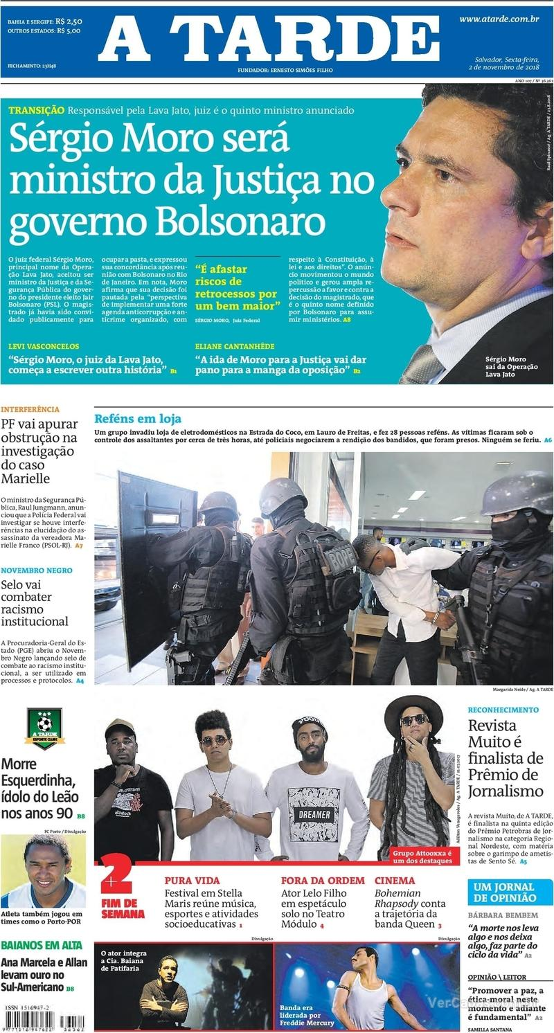 Capa jornal A Tarde 02/11/2018