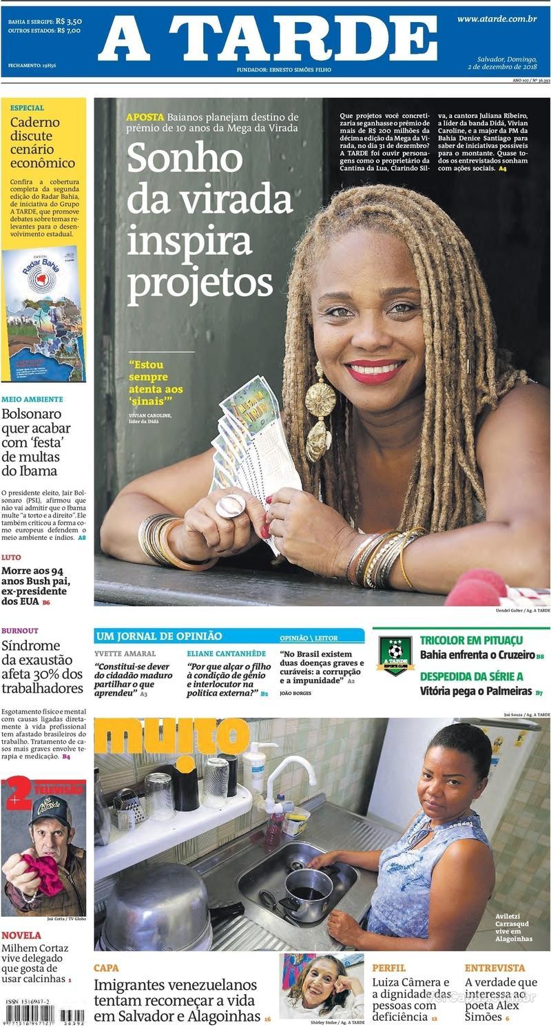 Capa jornal A Tarde 02/12/2018