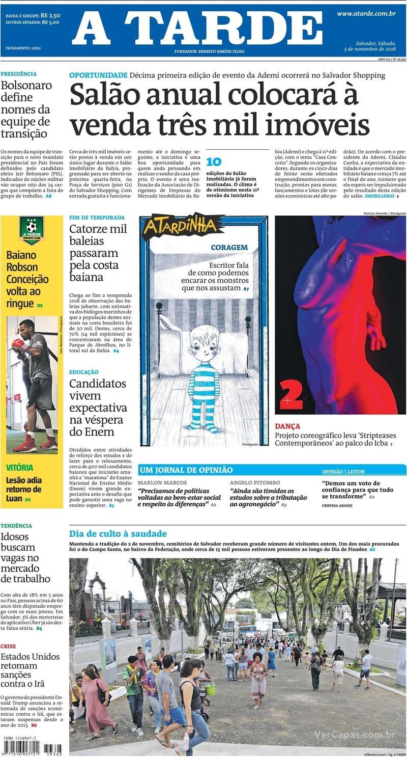 Capa jornal A Tarde 03/11/2018