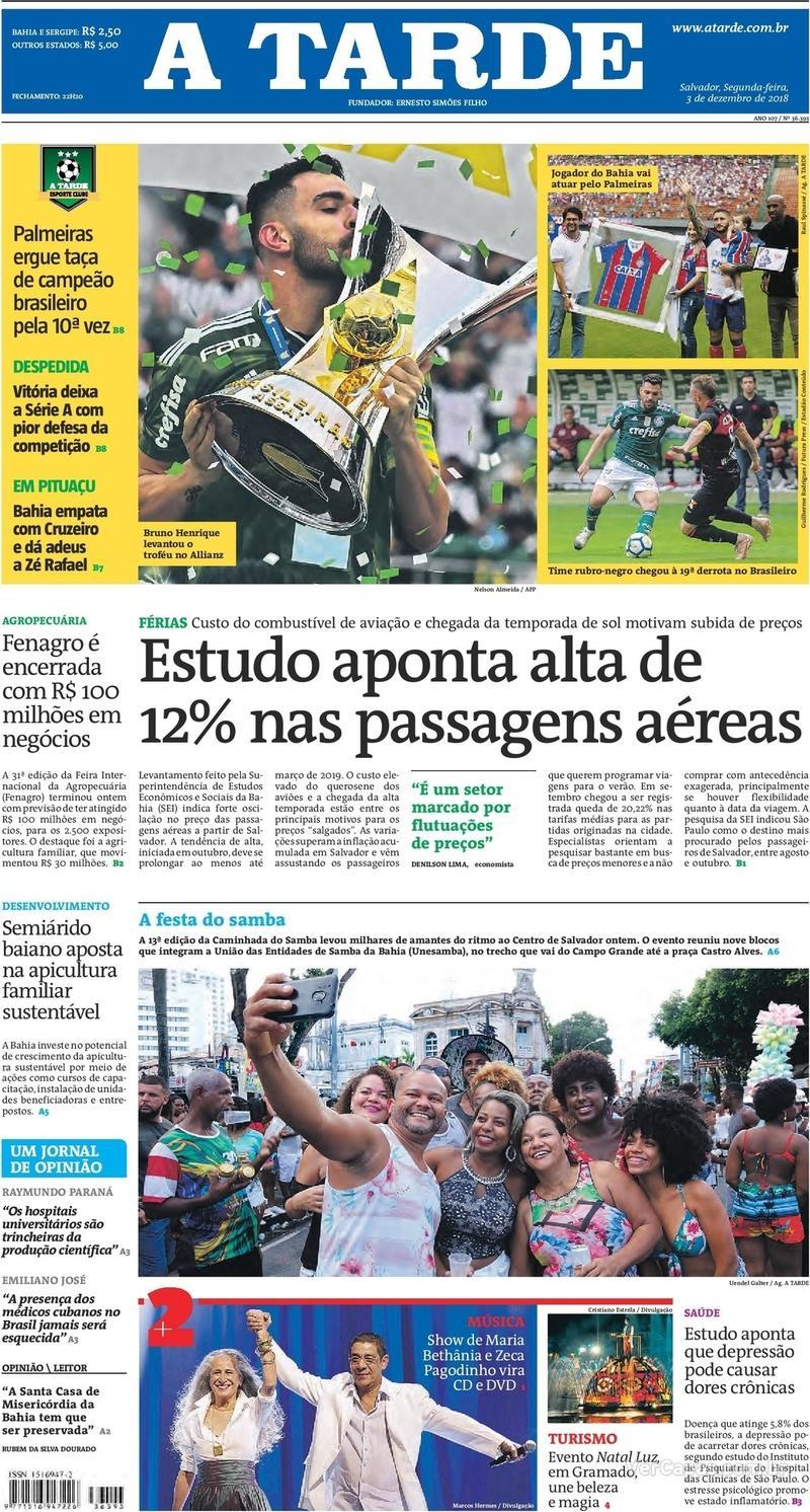 Capa jornal A Tarde 03/12/2018