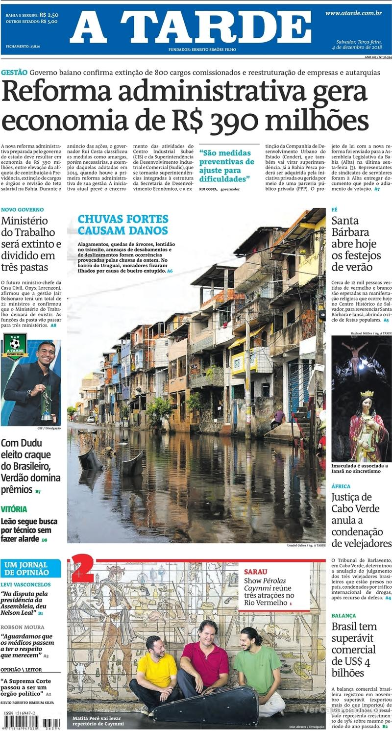 Capa jornal A Tarde 04/12/2018