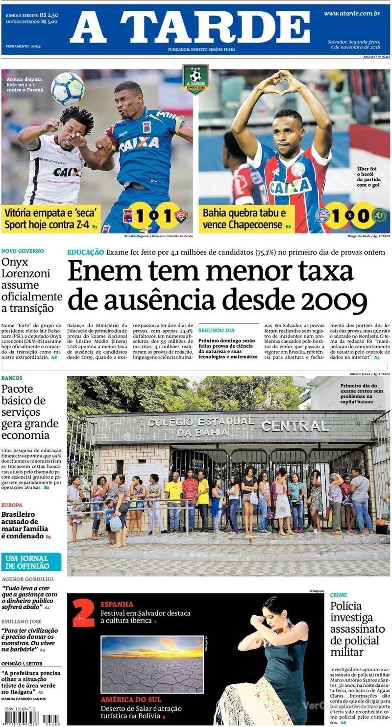 Capa jornal A Tarde 05/11/2018