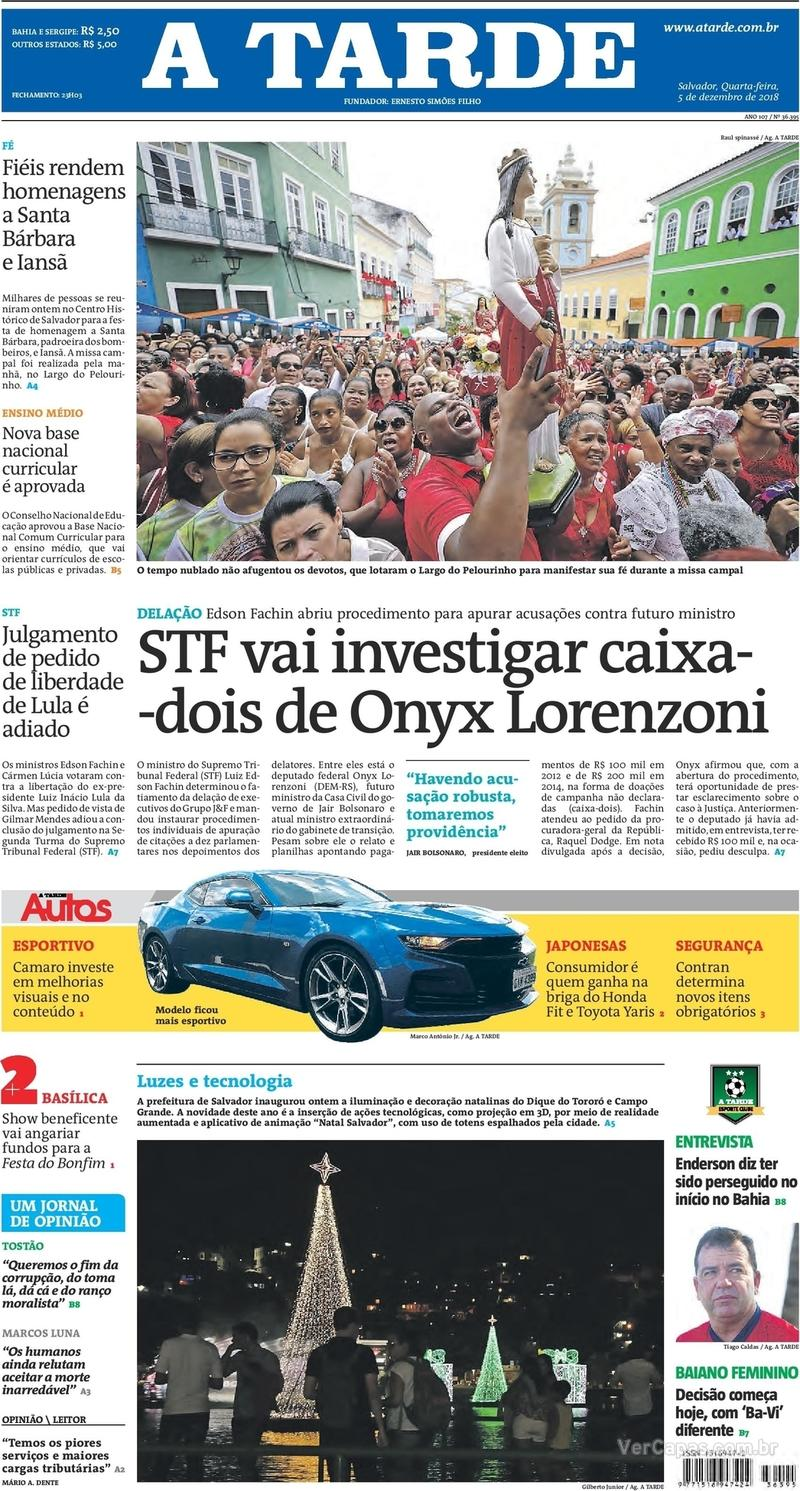 Capa jornal A Tarde 05/12/2018