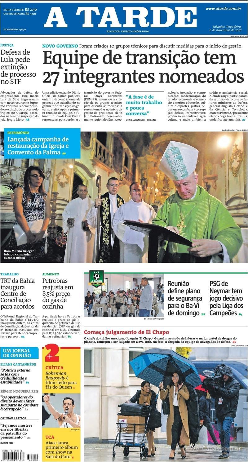 Capa jornal A Tarde 06/11/2018
