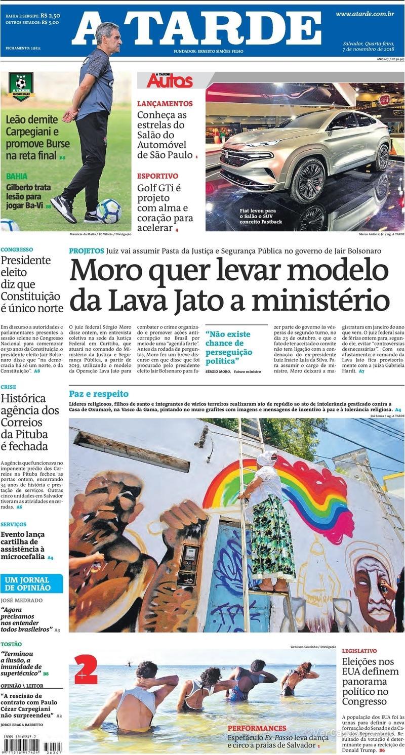 Capa do jornal A Tarde 07/11/2018