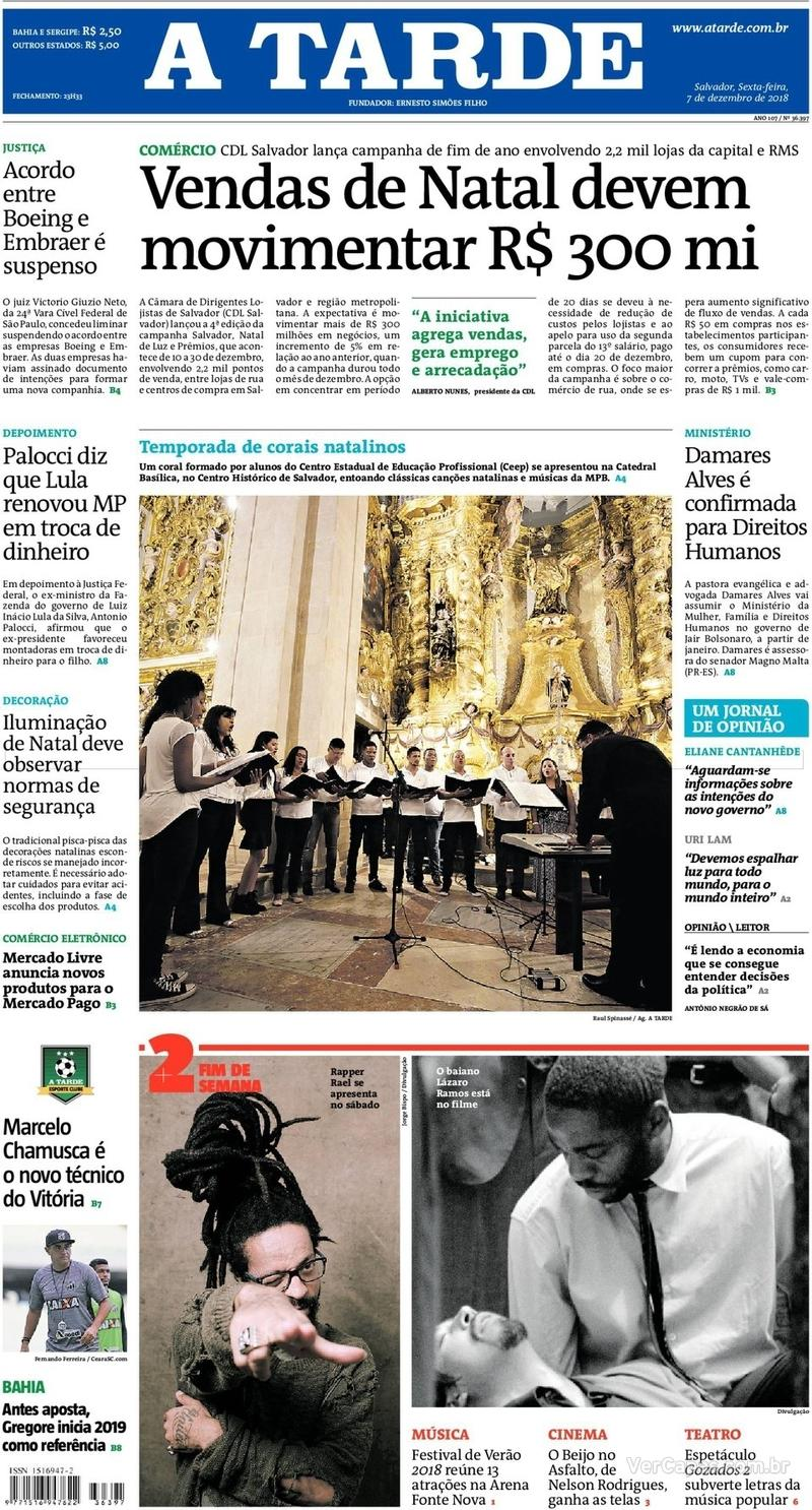 Capa jornal A Tarde 07/12/2018