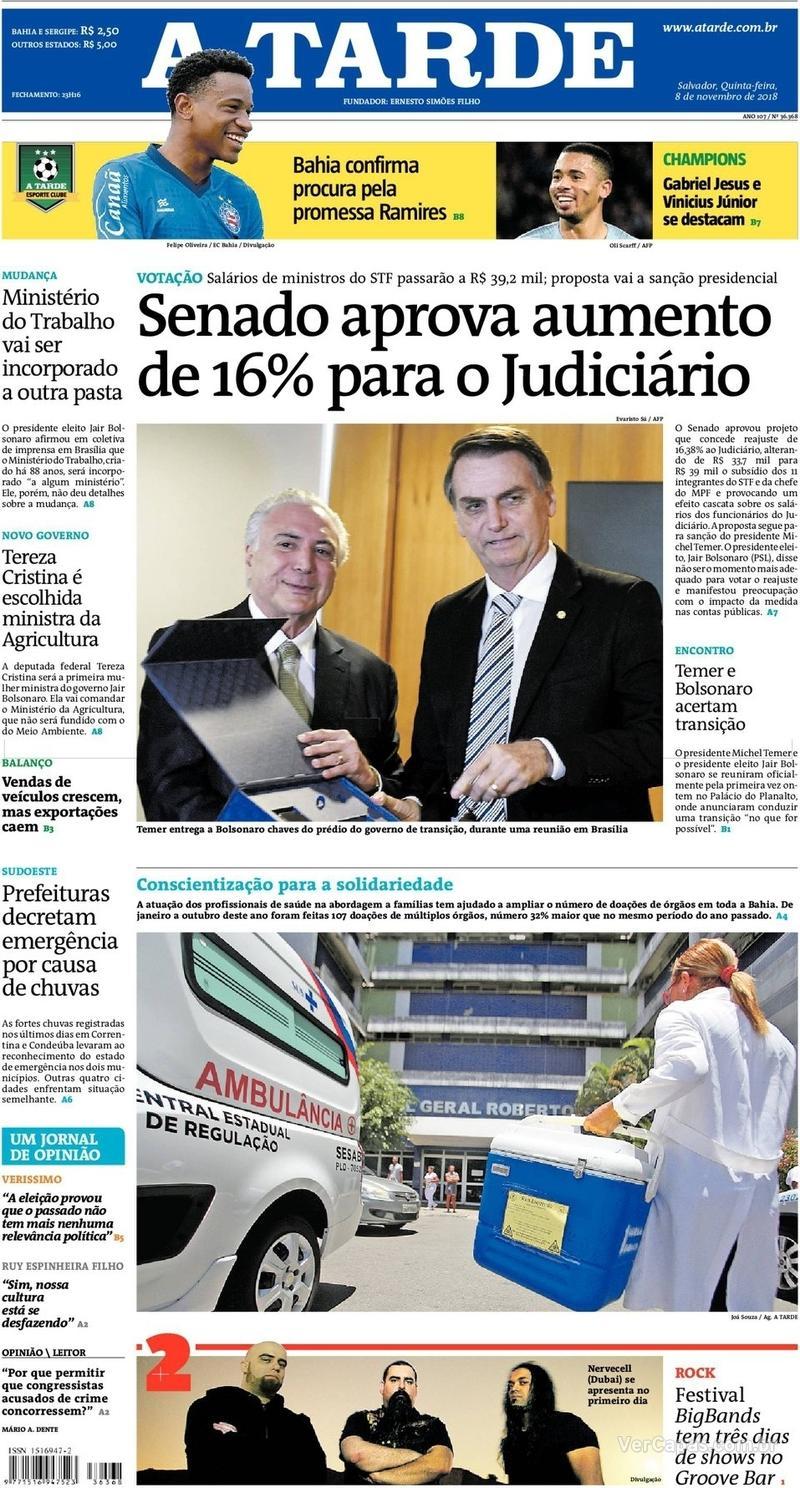 Capa do jornal A Tarde 08/11/2018
