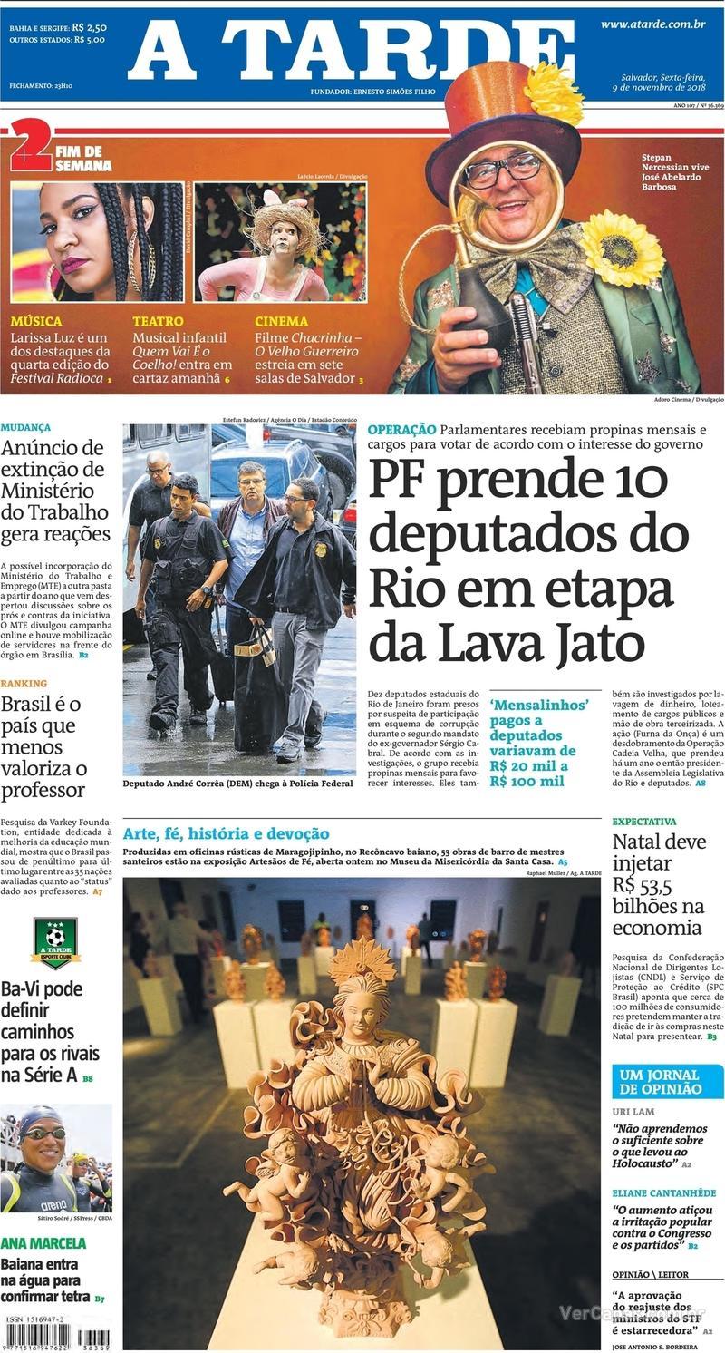 Capa jornal A Tarde 09/11/2018