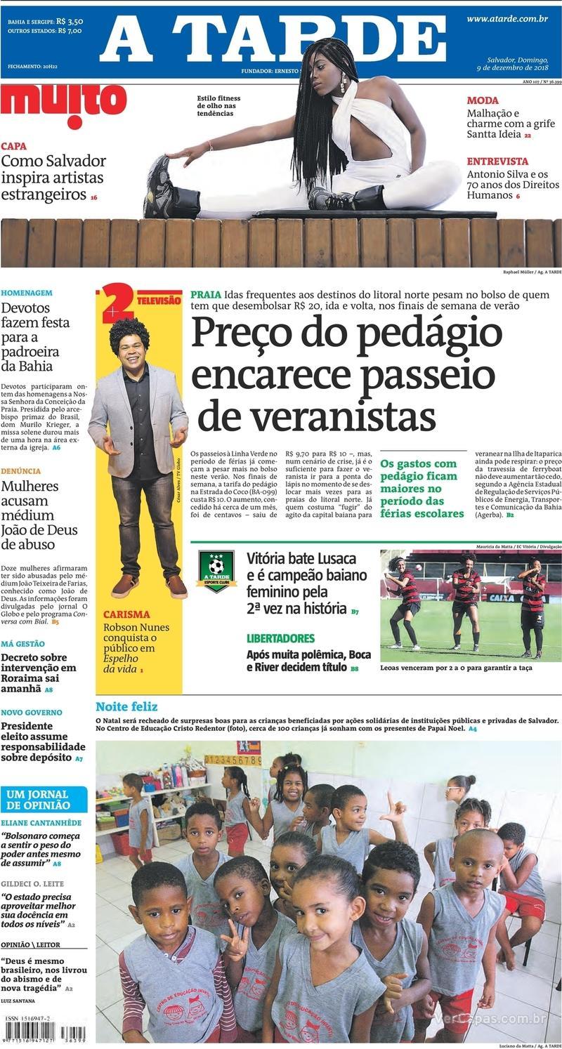 Capa jornal A Tarde 09/12/2018