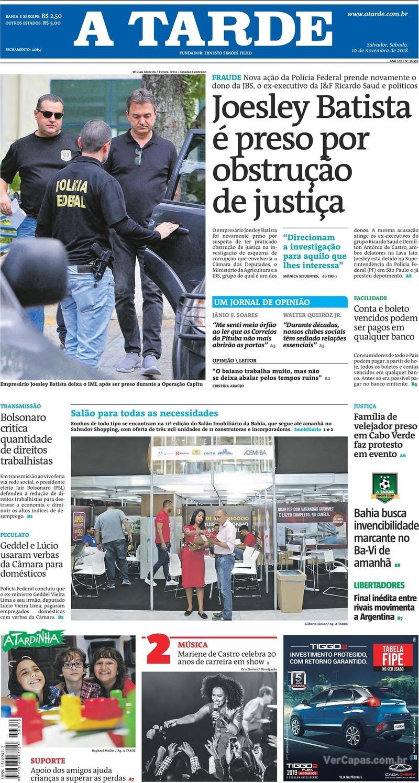 Capa do jornal A Tarde 10/11/2018