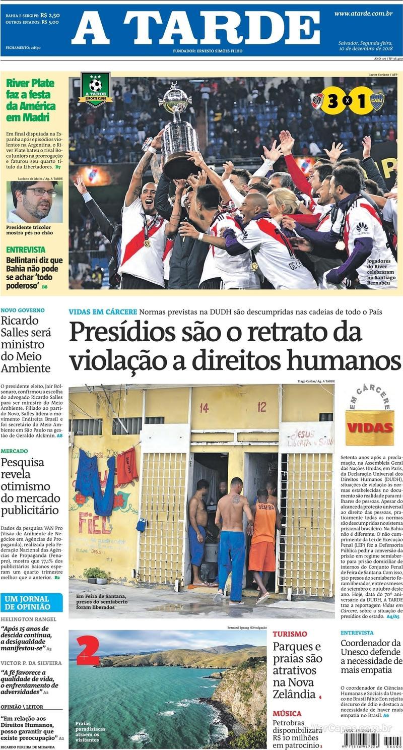 Capa jornal A Tarde 10/12/2018