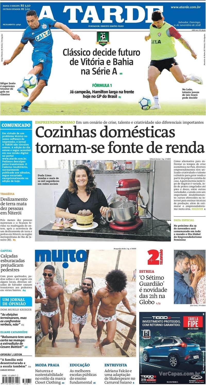 Capa jornal A Tarde 11/11/2018