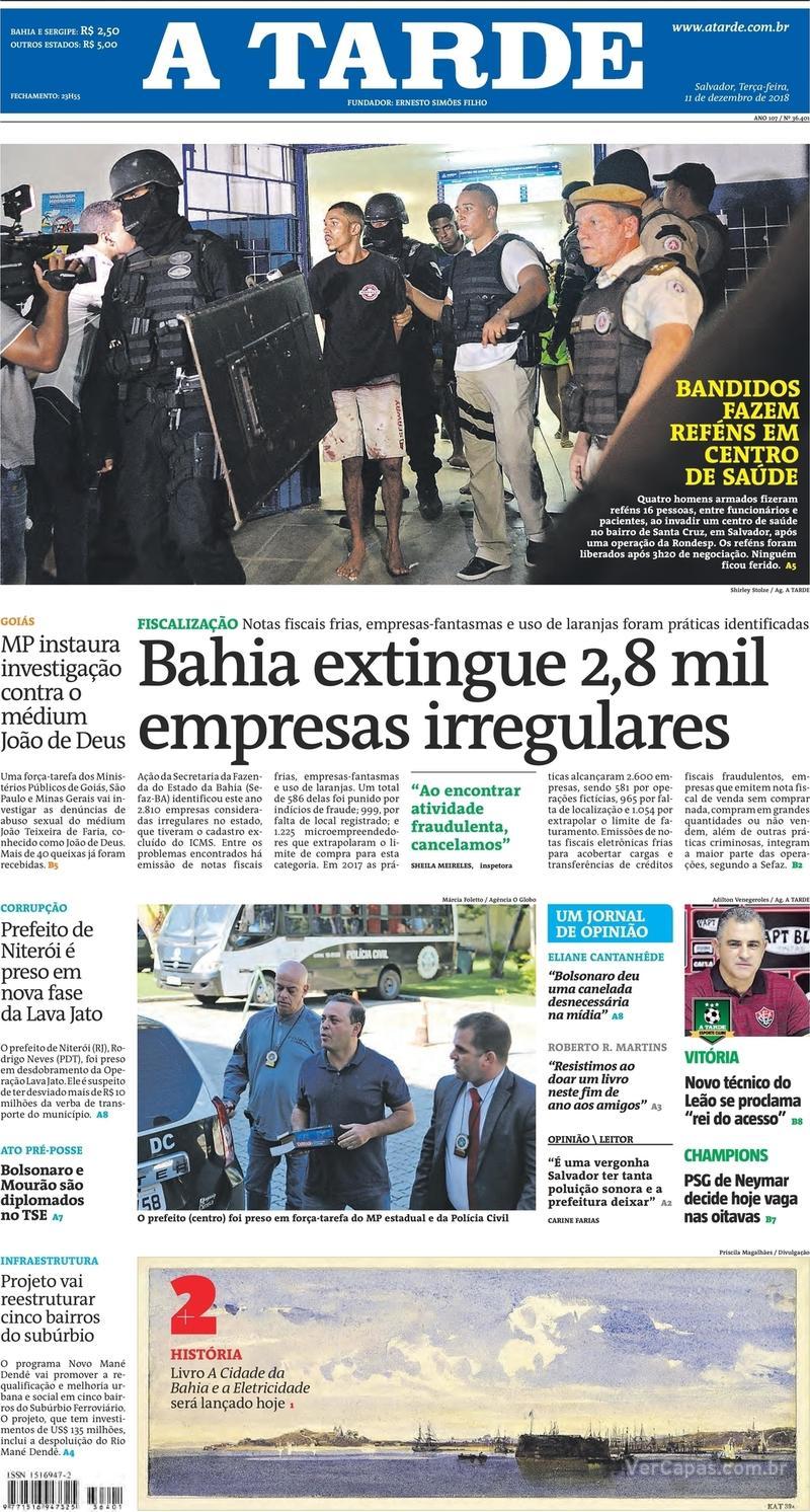 Capa jornal A Tarde 11/12/2018
