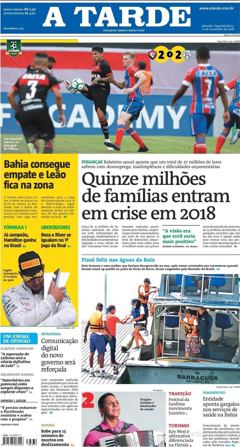 Capa jornal A Tarde 12/11/2018