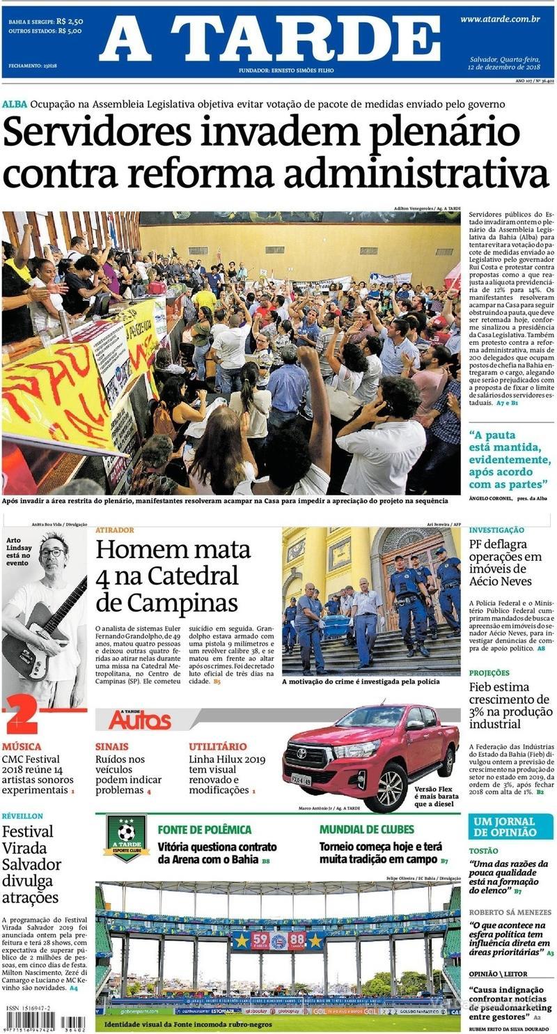 Capa jornal A Tarde 12/12/2018