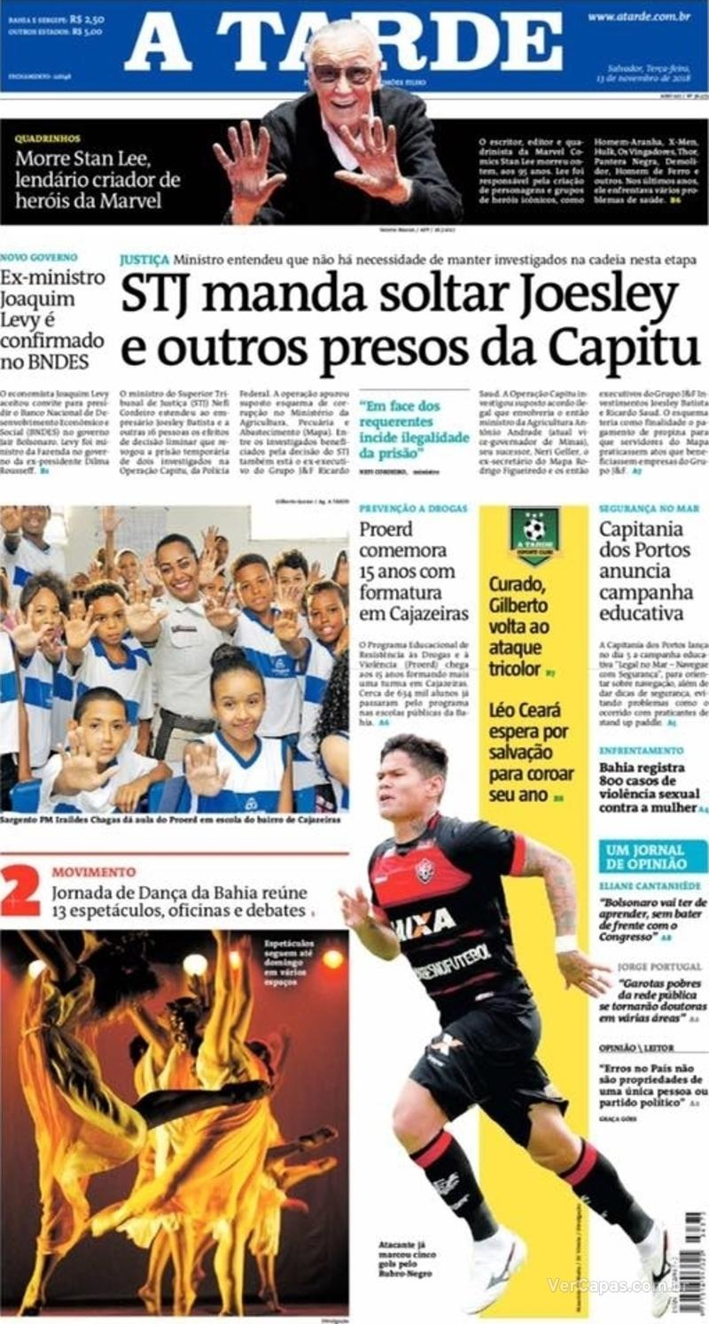 Capa jornal A Tarde 13/11/2018