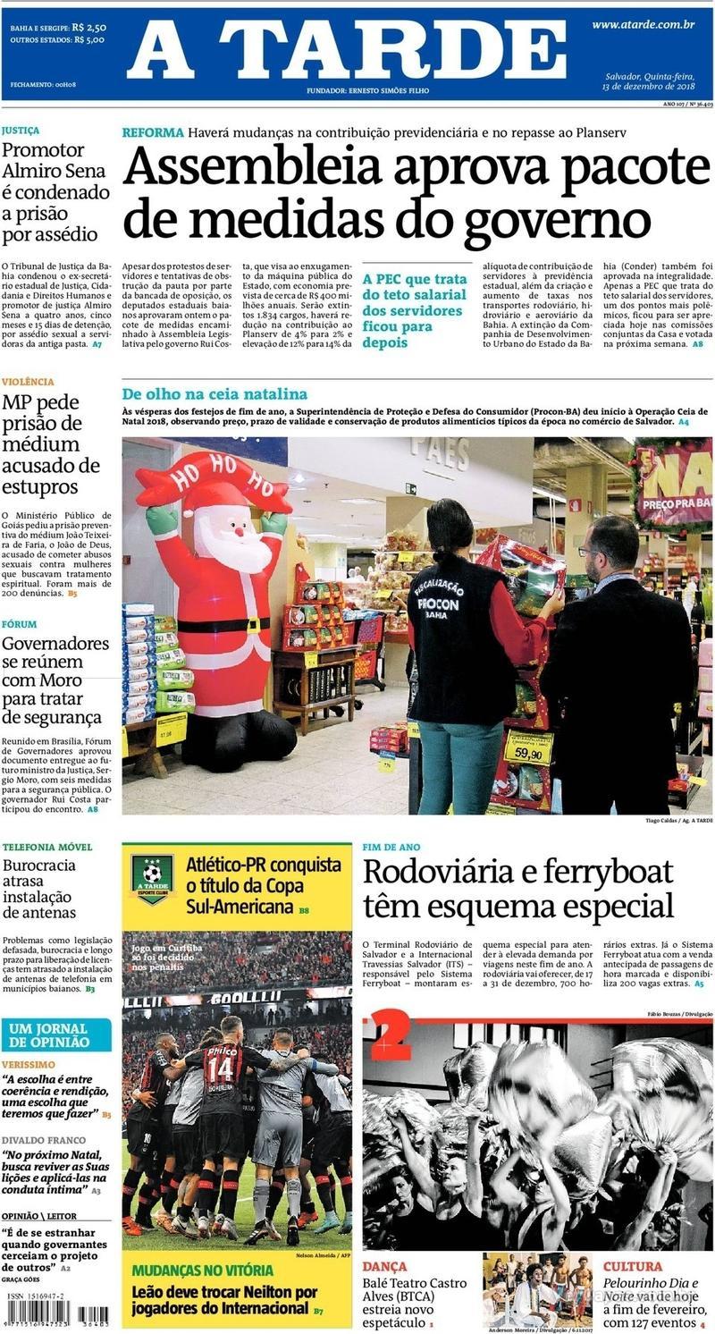 Capa jornal A Tarde 13/12/2018