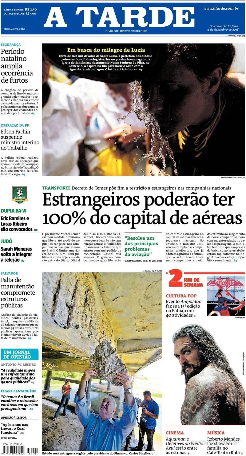 Capa do jornal A Tarde 14/12/2018