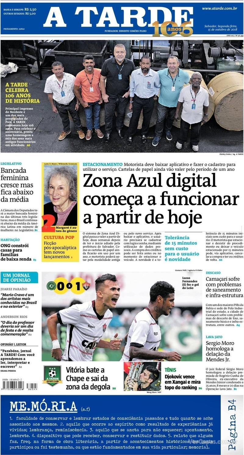 Capa do jornal A Tarde 15/10/2018