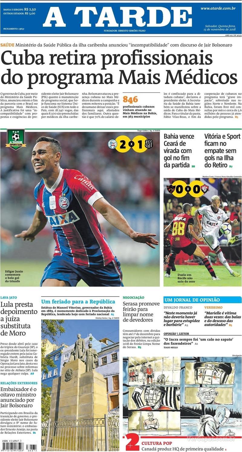 Capa jornal A Tarde 15/11/2018