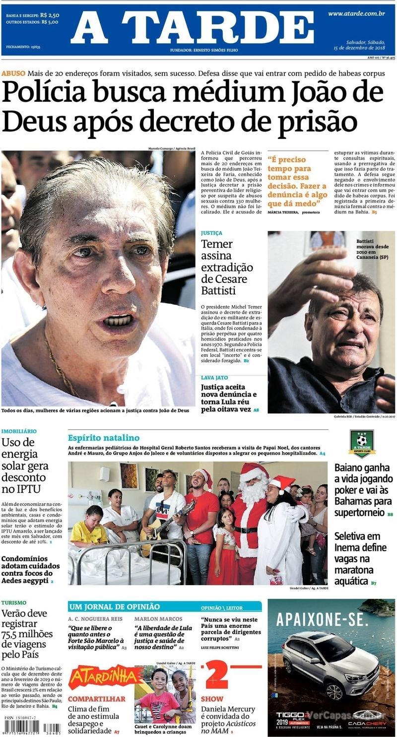 Capa jornal A Tarde 15/12/2018