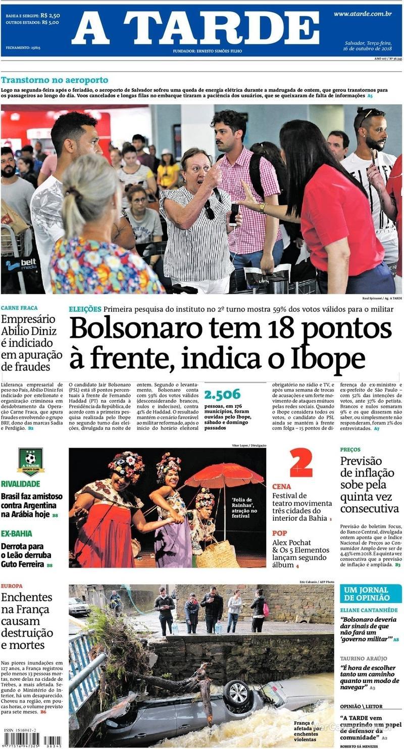 Capa do jornal A Tarde 16/10/2018
