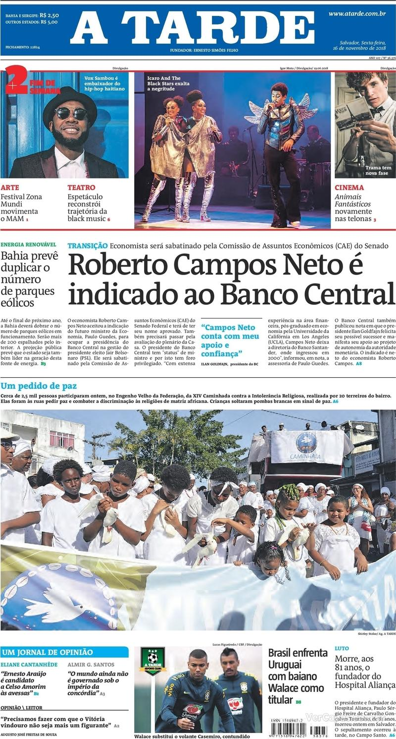 Capa jornal A Tarde 16/11/2018