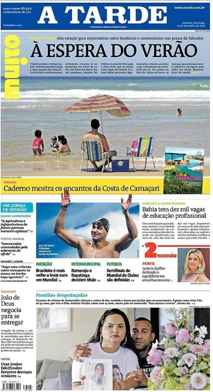 Capa jornal A Tarde 16/12/2018