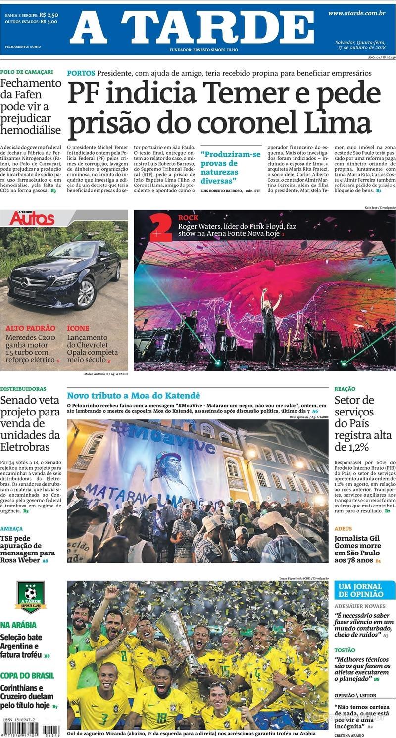 Capa do jornal A Tarde 17/10/2018