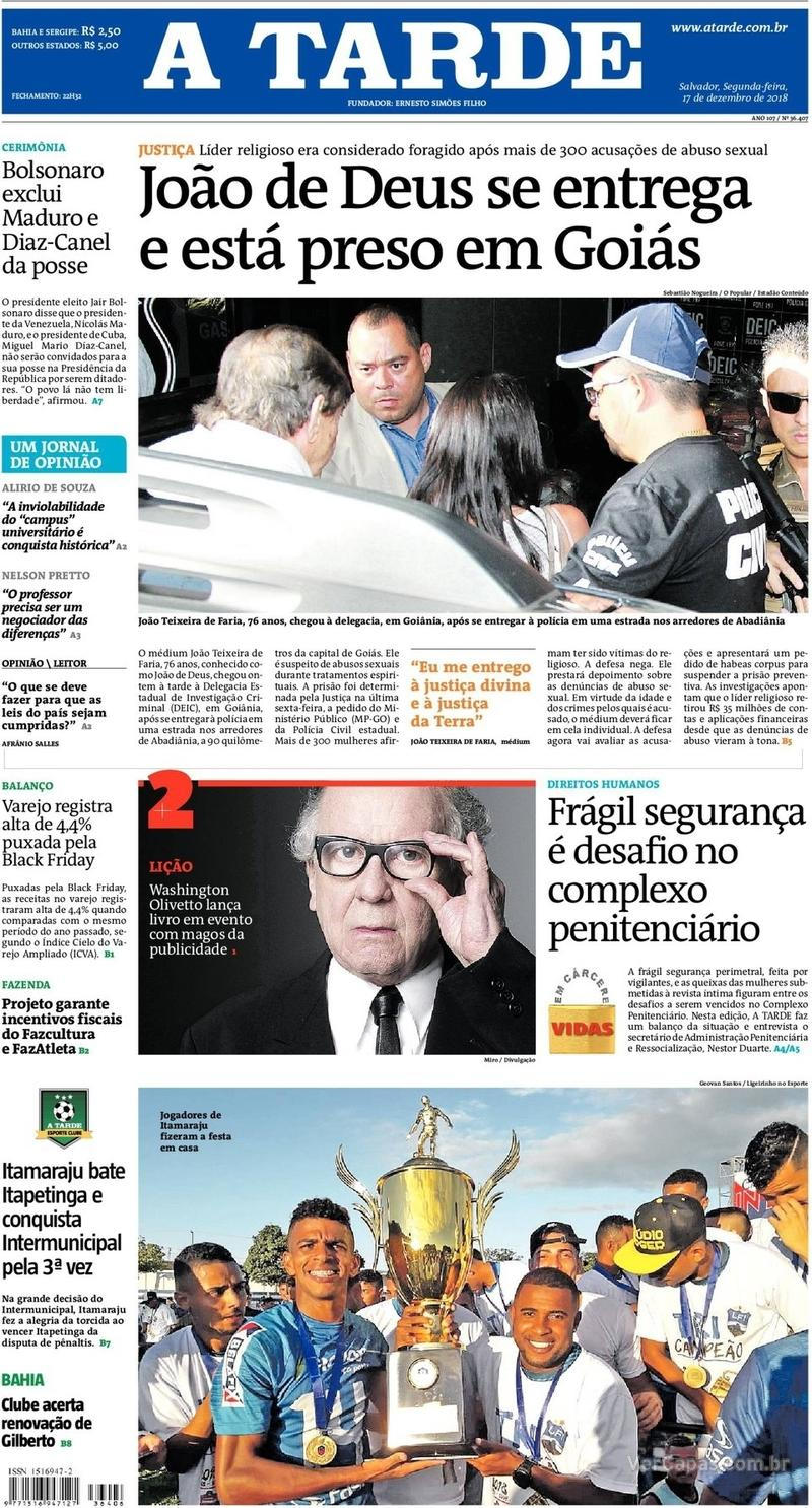 Capa jornal A Tarde 17/12/2018
