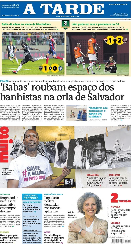 Capa jornal A Tarde 18/11/2018