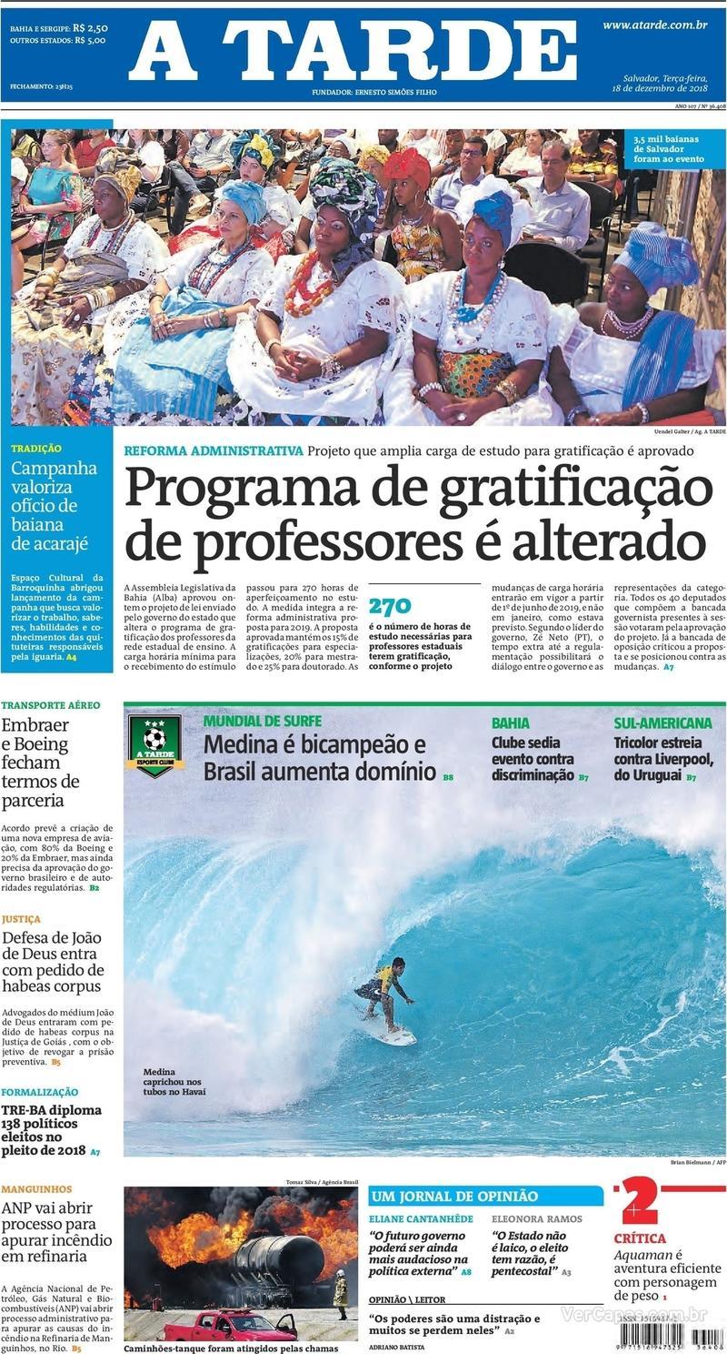 Capa jornal A Tarde 18/12/2018