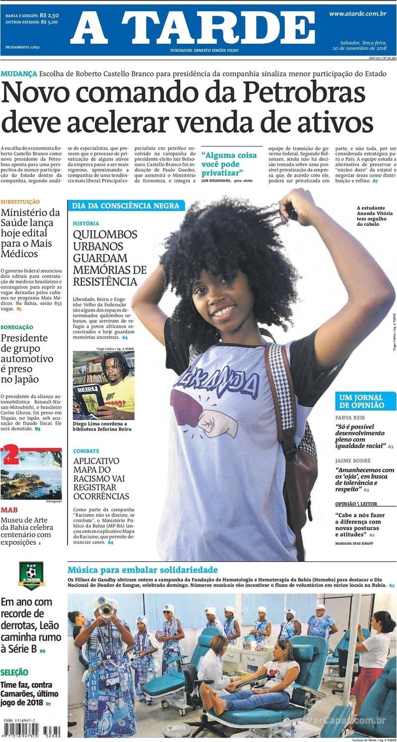 Capa jornal A Tarde 20/11/2018