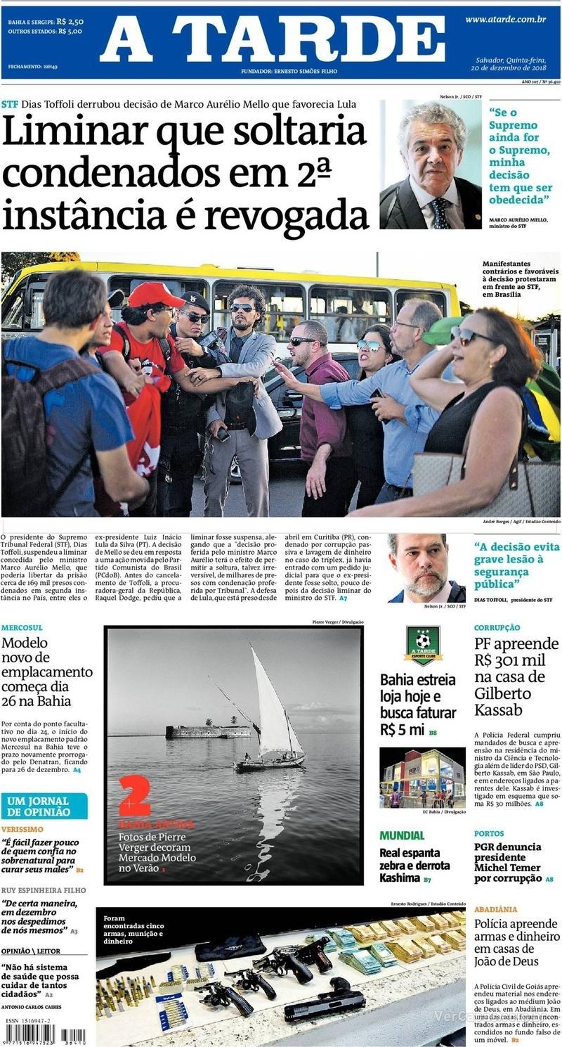 Capa jornal A Tarde 20/12/2018