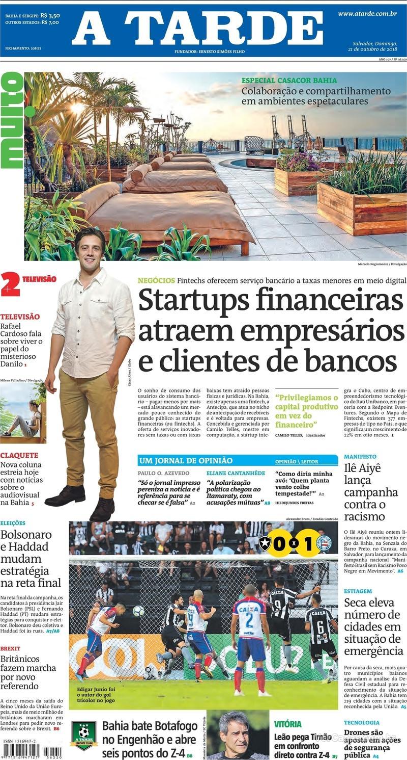 Capa do jornal A Tarde 21/10/2018