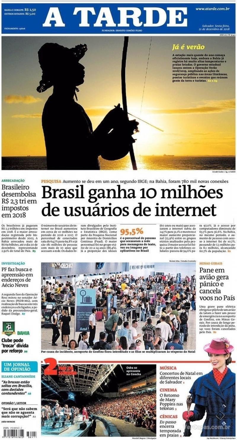 Capa jornal A Tarde 21/12/2018