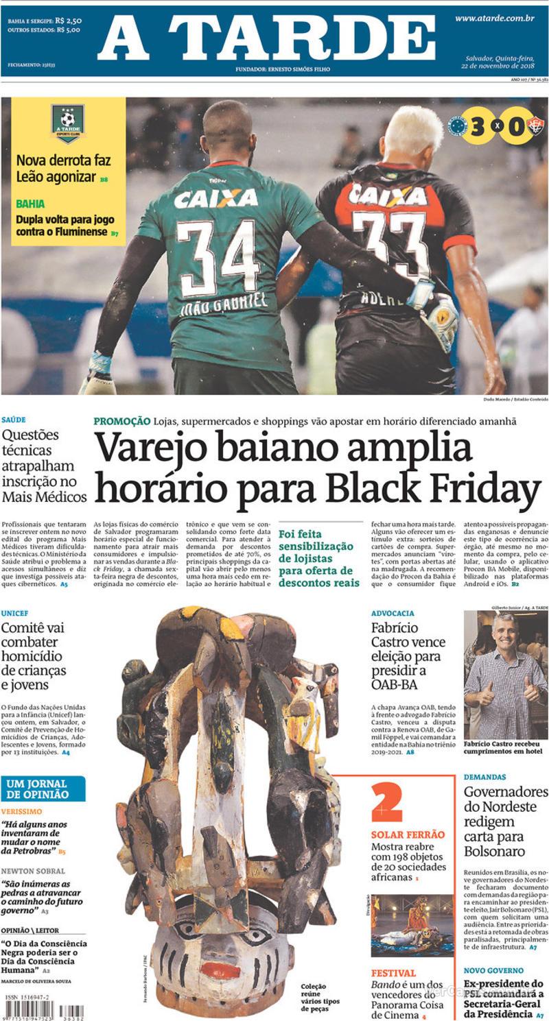 Capa jornal A Tarde 22/11/2018