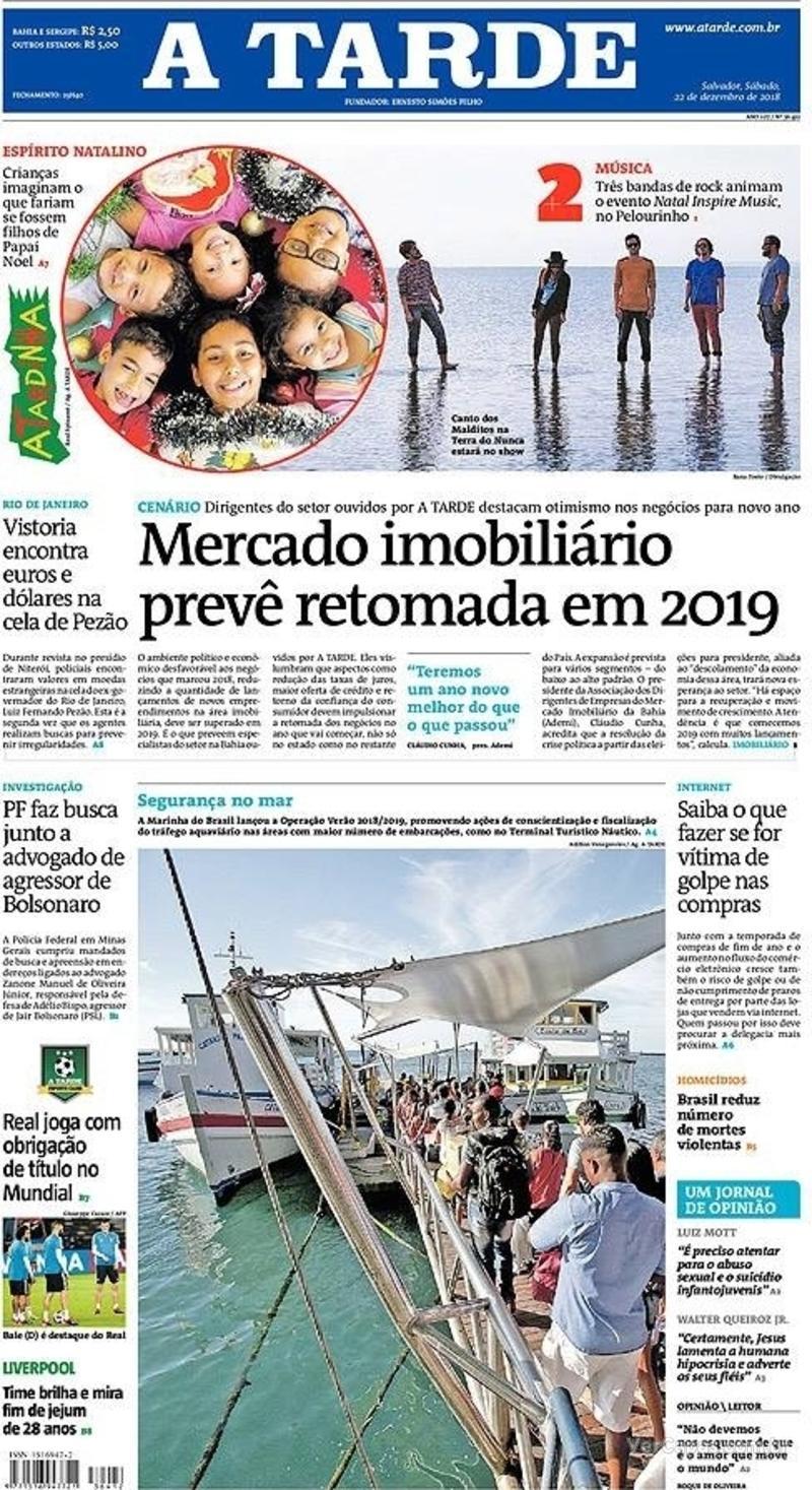 Capa jornal A Tarde 22/12/2018