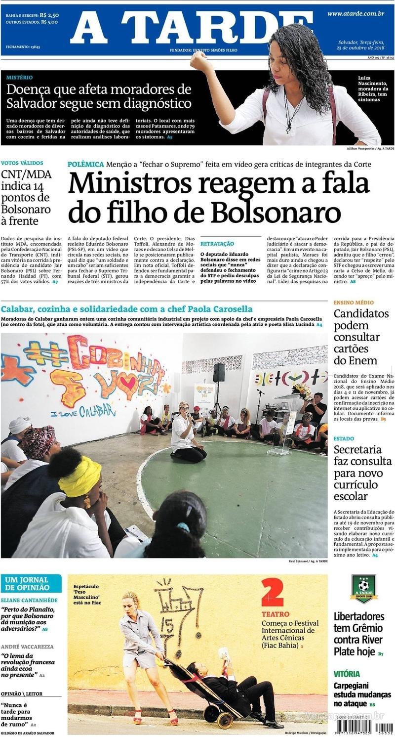 Capa do jornal A Tarde 23/10/2018