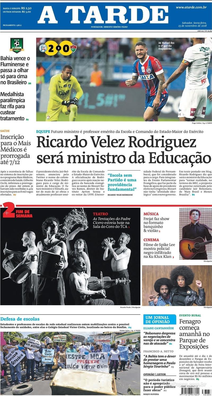 Capa jornal A Tarde 23/11/2018