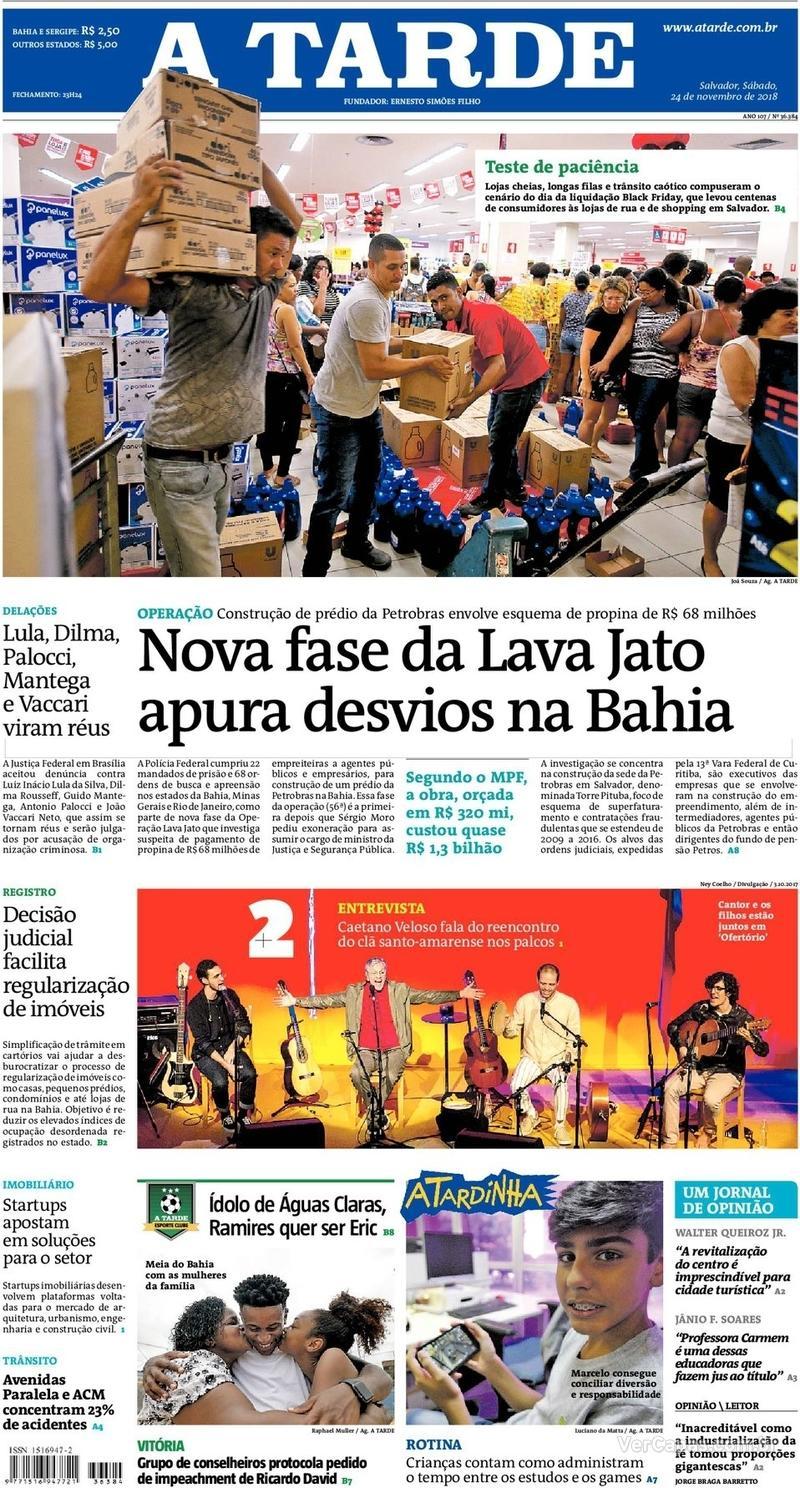 Capa do jornal A Tarde 24/11/2018