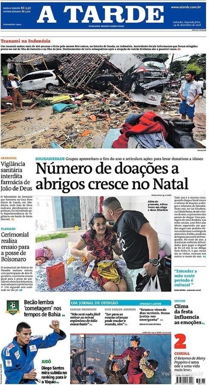 Capa jornal A Tarde 24/12/2018