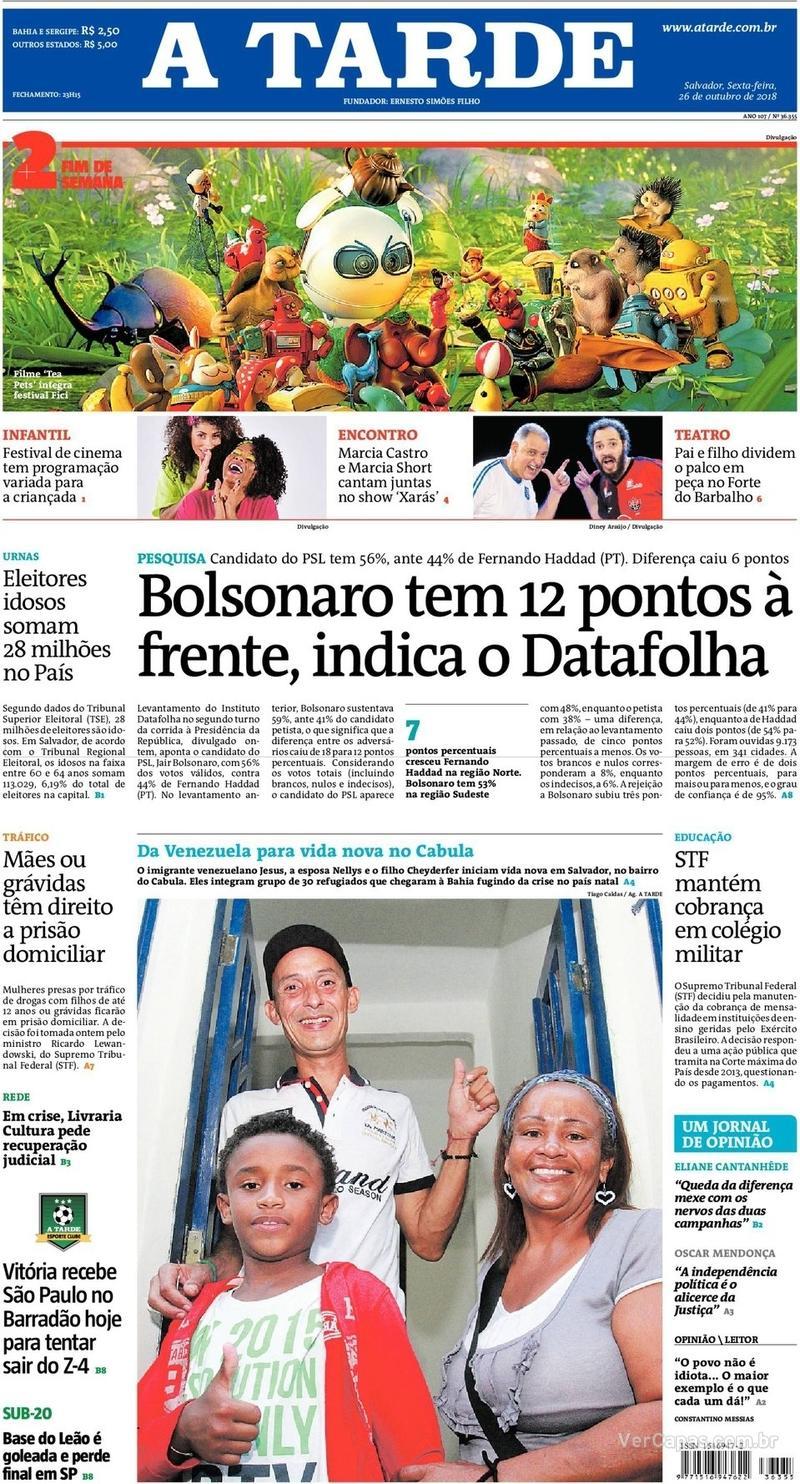 Capa do jornal A Tarde 26/10/2018