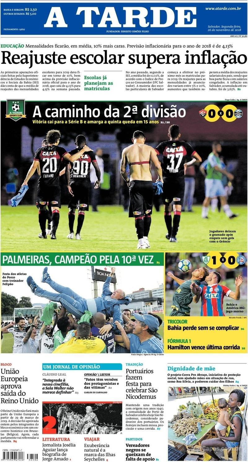 Capa do jornal A Tarde 26/11/2018