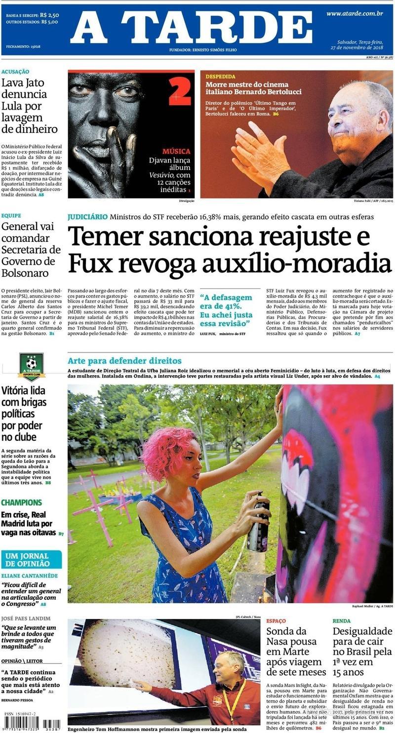 Capa jornal A Tarde 27/11/2018