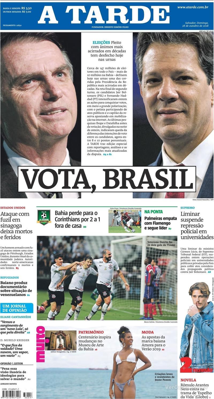 Capa do jornal A Tarde 28/10/2018