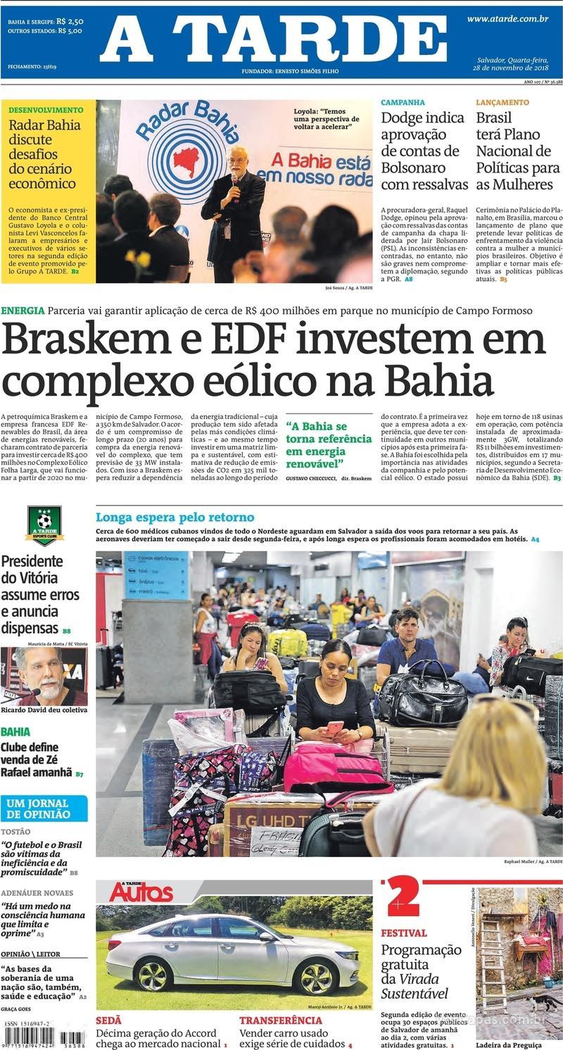 Capa jornal A Tarde 28/11/2018