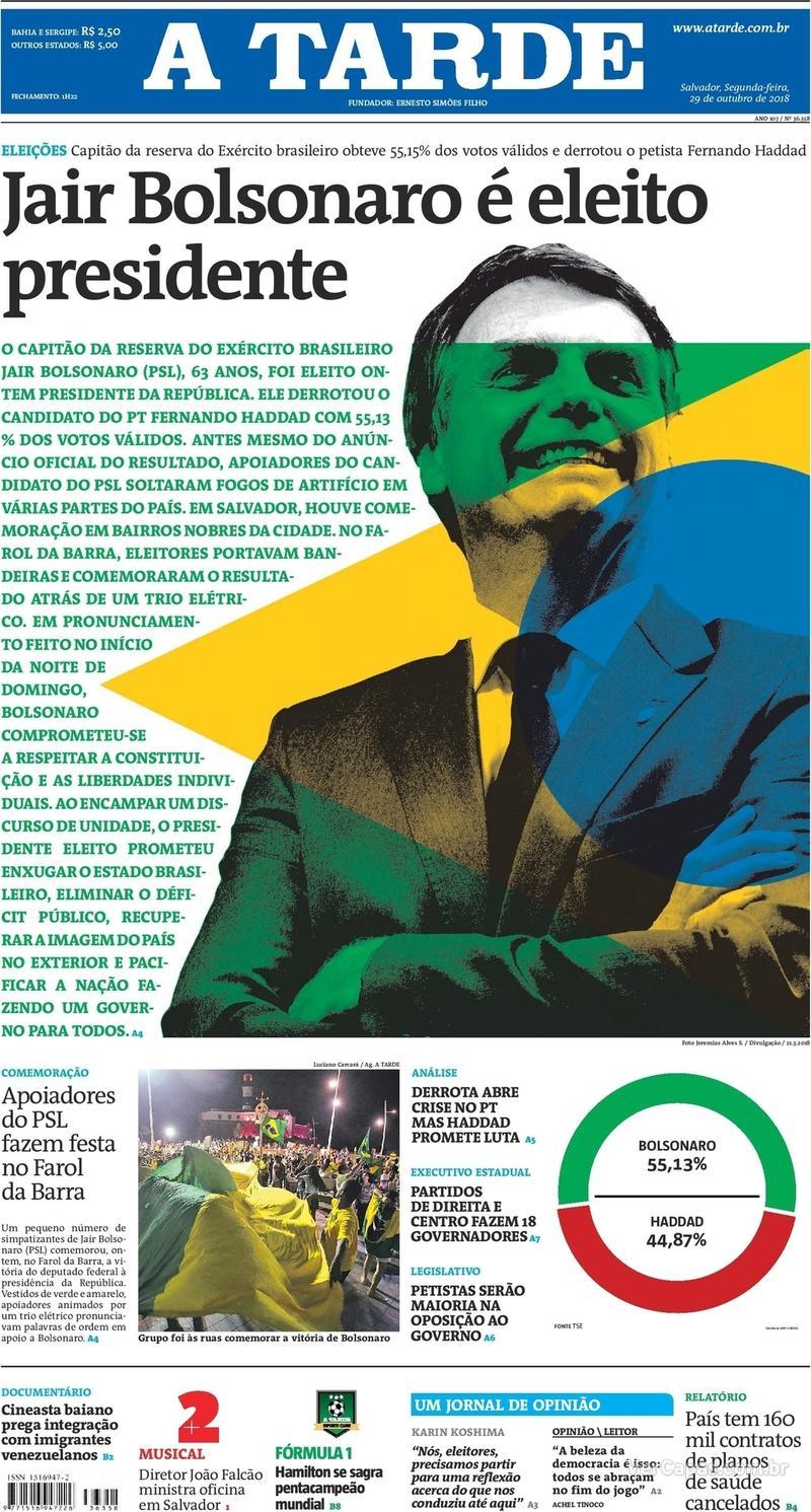 Capa do jornal A Tarde 29/10/2018