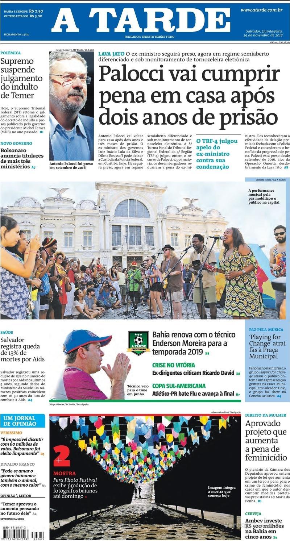 Capa jornal A Tarde 29/11/2018